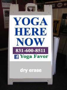 Yoga favor sandwich board