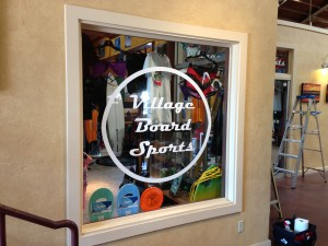 window lettering-village board